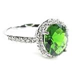 Sterling Silver Oval Emerald Green Color Halo