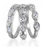 Stackable 3 piece 925 Silver CZ Ring Band Set