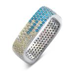 Multi color wide silver cz wide  band