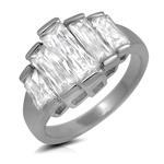 Baguette Cut CZ Fashion Statement Ring Emerald Cut Silver Color Rhodium Plated
