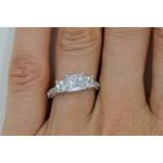 three stone cz princess engagement wedding ring