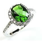 Sterling Silver Oval Emerald Green Color Halo Set