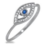 925 Sterling Silver Blue Stone Evil Eye CZ Delicate Ward Ring Fashion Trendy