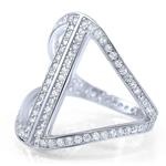 Fashion Trendy Silver Pave CZ Cubic Zirconia Cocktail Anniversary Ring Designer