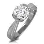 Round White Cubic Zirconia Solitaire Engagement Tension Set Ring 7mm 1.28ctw