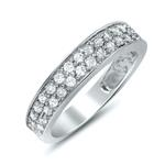 2 row Cubic Zirconia Pave Wedding Band Sterling Si