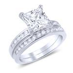 Princes Cut CZ Sterling Silver 2-Pc Ring Set Clear Bridal Matching Wedding Set