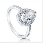 Sterling Silver Pear Cut CZ Halo Ring Engagement