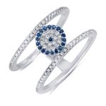 Double bar eveil eye pave ring