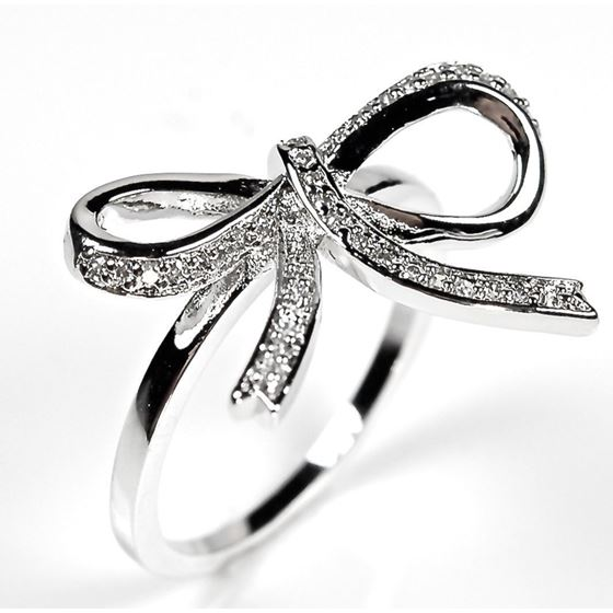 Sterling Silver Pave Ribbon Bow CZ Silver Cocktail Ring White Cubic Zirconia 925