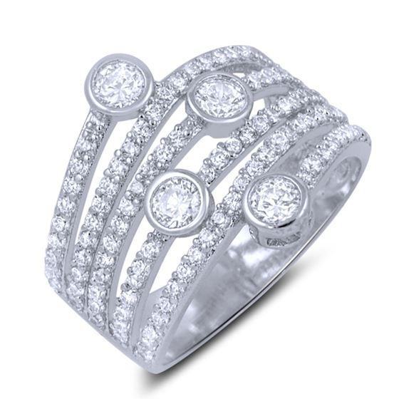 Micro Pave Bezel Set CZ Sterling Silver Big Fash