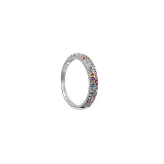 Semi Eternity Multicolor Ring