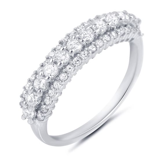 Sterling Silver Micro Pave CZ Half Eternity Stacka