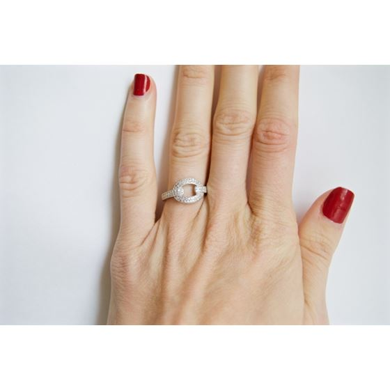 Modern Pave Cocktail CZ Fashion ring in silver