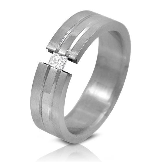Grooved Stainless Steel Tension Set CZ Unisex Wedding Band Ring 6mm