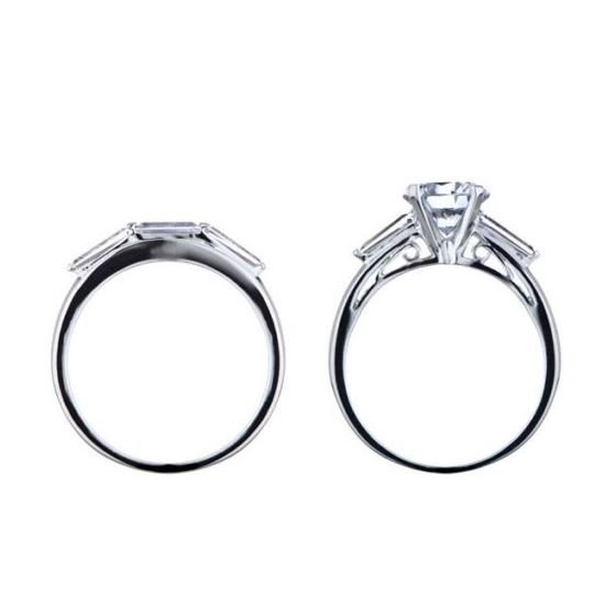 Round Baguette Cut CZ Wedding Ring Set Sterling Silver Matching Bridal 2 piece