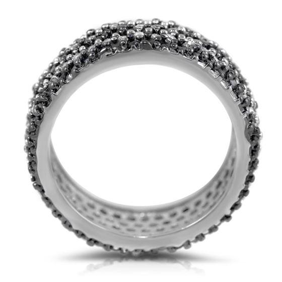 Black White CZ 925 Sterling Silver Wide Eternity