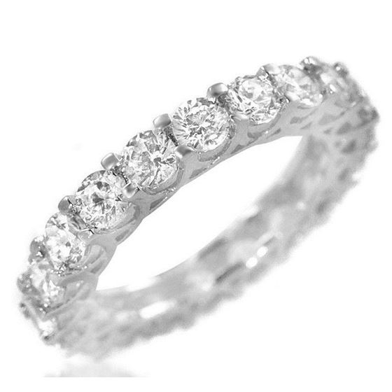 925 Sterling Silver CZ  Wedding Band Round