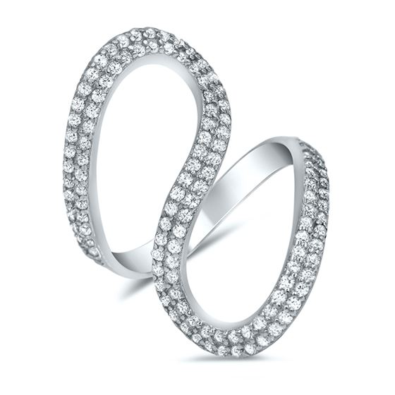 Wave Statement CZ Fashion Cocktail Silver Ring