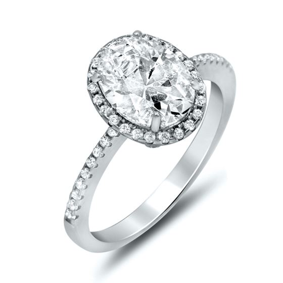 Oval Halo Set Sterling Silver Cubic Zirconia Engag