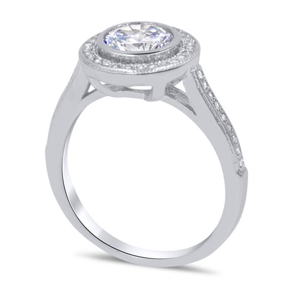 bezel set halo cubic zirconia silver ring