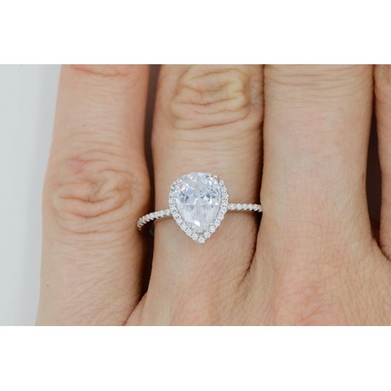 pear halo engagement cz ring in silver 925