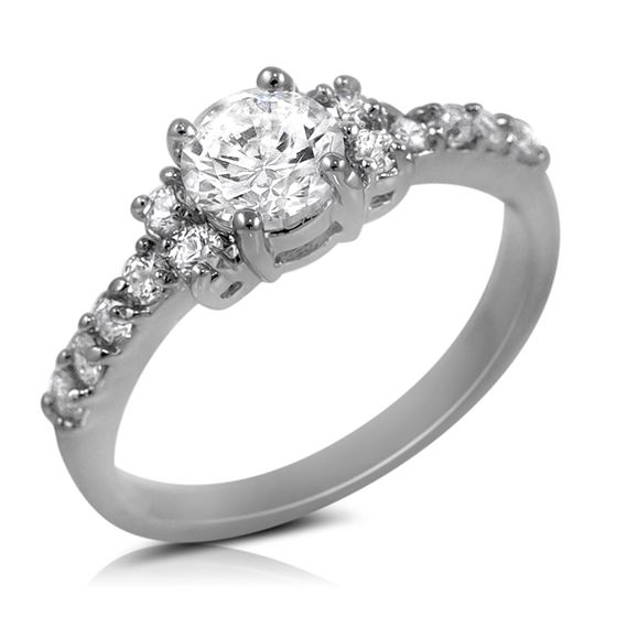 6mm Round Cut White Cubic Zirconia Engagement Wedding Ring With CZ Accents