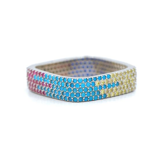 multi color modern cz ring