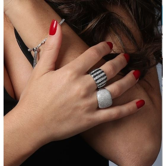 Large Black White Micro Pave Cocktail 925 Sterling Silver Ring CZ Anniversary