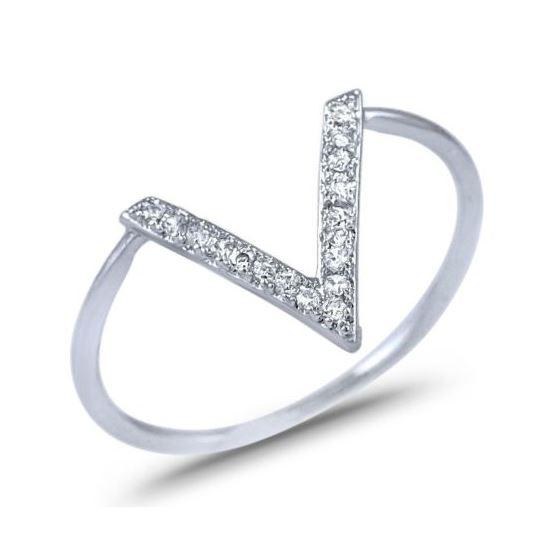 HOT! Sterling Silver V Ring Pave CZ 925 Chevron