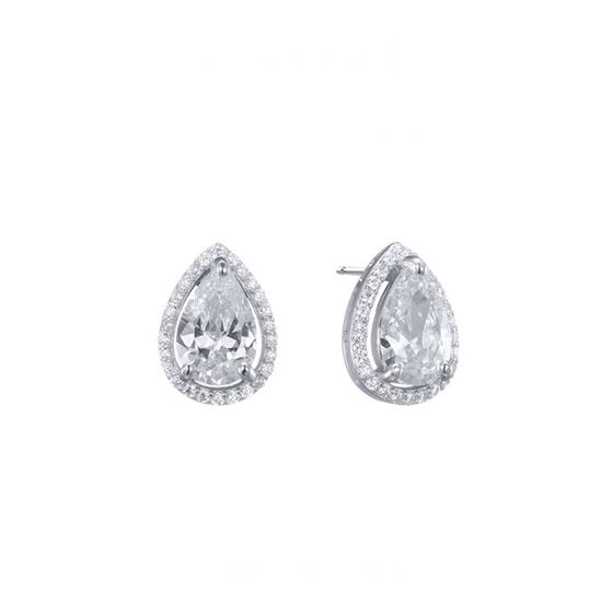 Sterling Silver Oval Halo CZ Stud Earrings1