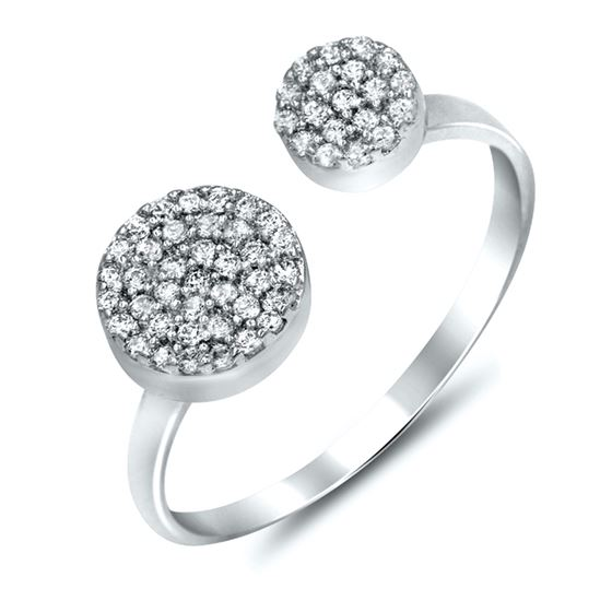 pave midi sterling silver cz ring
