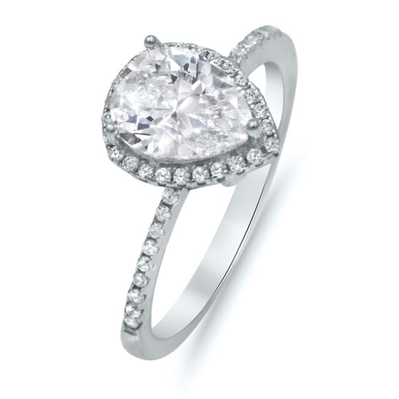 Sterling Silver Pear CZ Halo Engagement Wedding