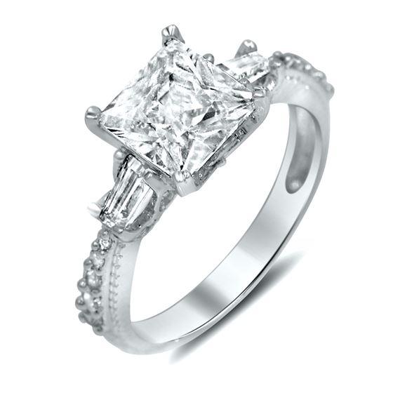 three stone cz princess silver engagement  ring