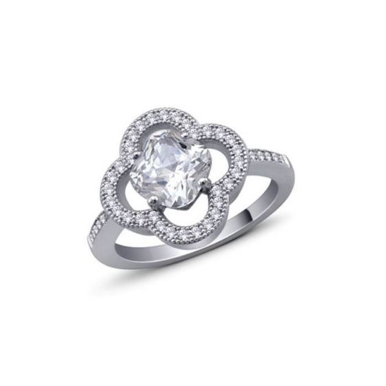925 Sterling Silver Cushion Cut CZ Micro Pave Halo