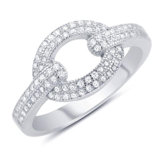 cocktail pave sterling sivler link ring