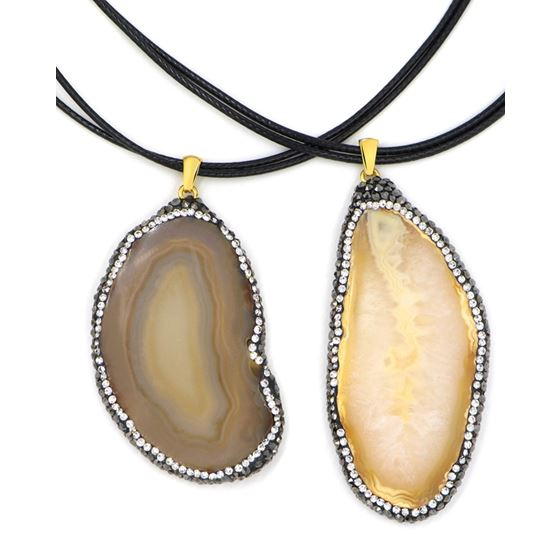slice agate necklace on leather cord