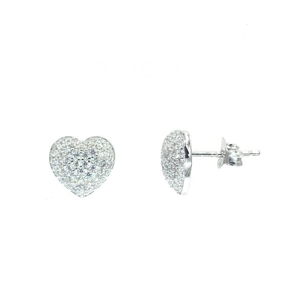 Puffed Pave Heart Earrings in Silver
