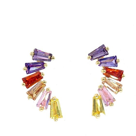 Multi Color Earrings in Gold