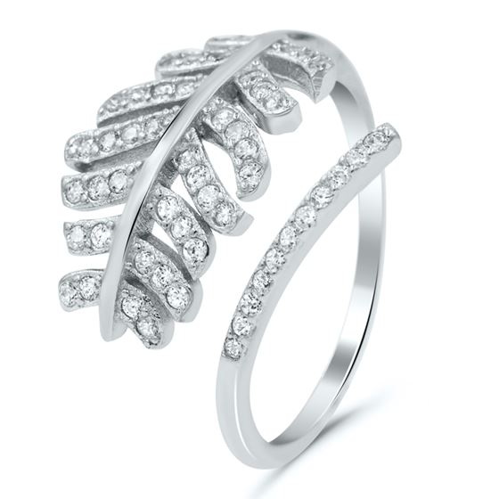 Pave Feather Cubic Zirconia Ring in Sterling Silver
