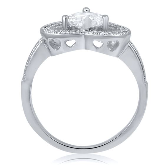 Sterling Silver Halo Set Heart Cut CZ Engagement