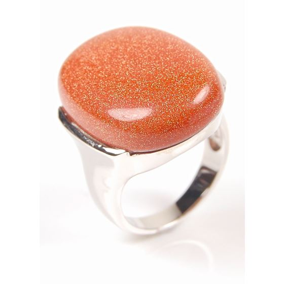 Big Oval Brown Goldstone in 925 Sterling Silver Large Top Grade Stone Ring