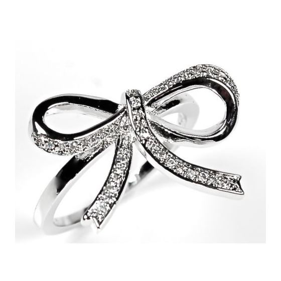 Sterling Silver Pave Ribbon Bow CZ Silver Coc