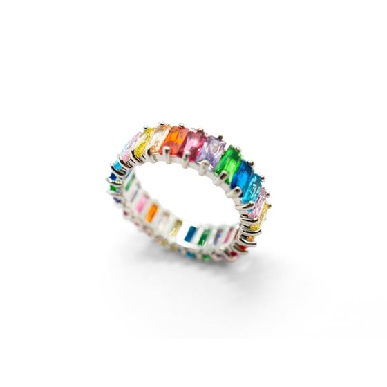 Multicolor Eternity Silver Ring