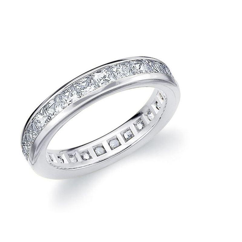 1 Carat Princess CZ Sterling Silver Eternity Weddi