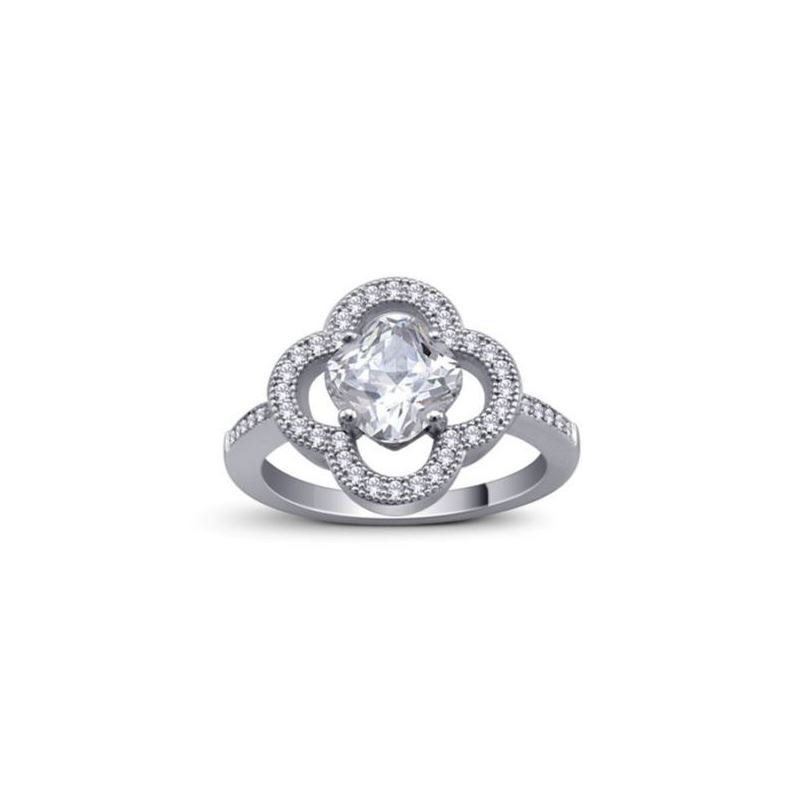Sterling Silver Cushion CZ Micro Pave Halo Eng