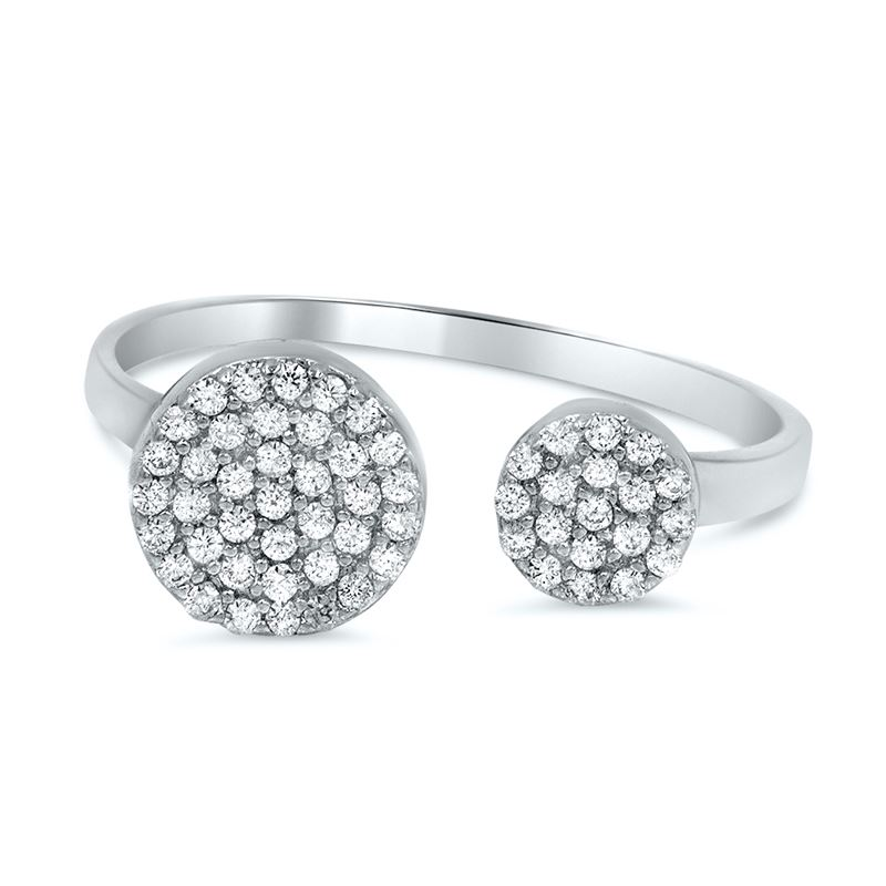 open pave circle midi knuckle silver ring
