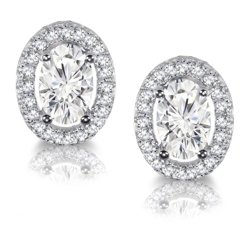 Sterling Silver Oval Halo CZ Stud Earrings