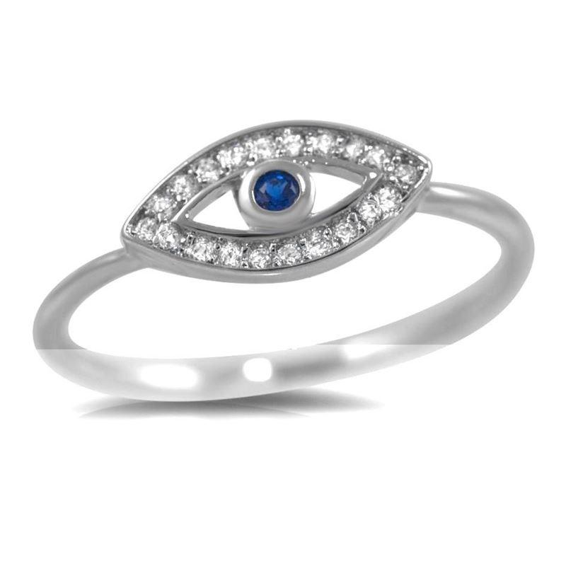 925 Sterling Silver Blue Stone Evil Eye CZ Delica
