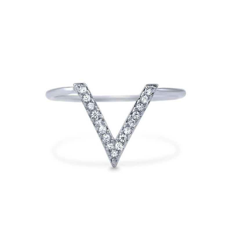 HOT! Sterling Silver V Ring Pave CZ 925 Chevron Wh